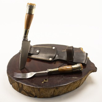 Wooden fork and knife set for barbeque
