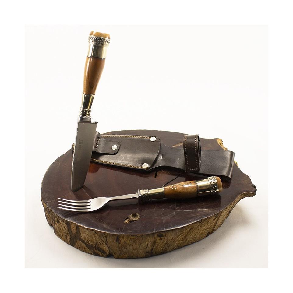 Wooden fork and knife set for barbeque