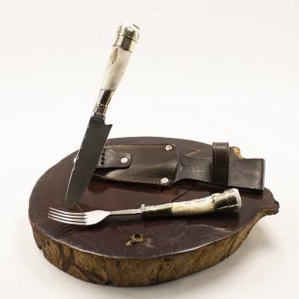 Deer horn fork and knife set for barbeque