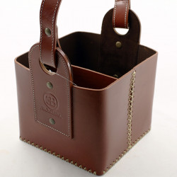 Leather basket bag for Thermos |El Boyero